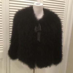 MARABOU FEATHER FUR JACKET BY CASSIN SIZE L .